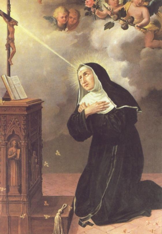 Santa Rita recibiendo la espina del Crucifijo